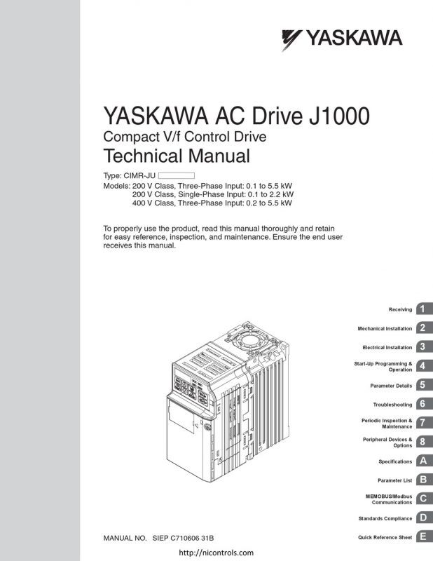 Yaskawa J1000 Manual